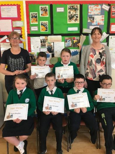 Super Worker Certificates were presented to Caiden, Erin, Sofia, Ryan, Jamie and Theo.