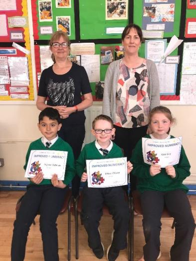 Improved Numeracy Certificates were awarded to Sajidur, Ethan and Kelsi.