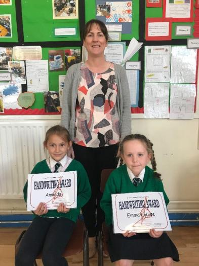 Handwriting Award certificates were presented to Amanda and Emma-Louise.