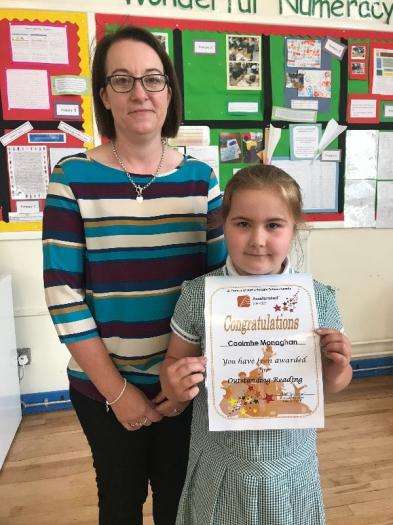 Caoimhe was presented with a certificate in recognition of her amazing achievements in the Accelerated Reader Programme.