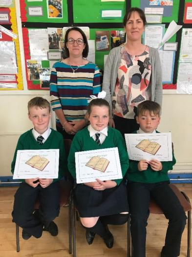 Aaron, Cara and Caoimhin were awarded certificates for completion of the Talking Partners Programme.