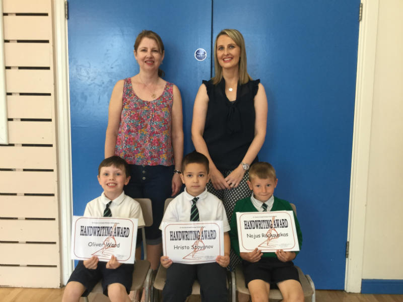 Handwriting Awards were presented to Oliver, Hristo and Nojus