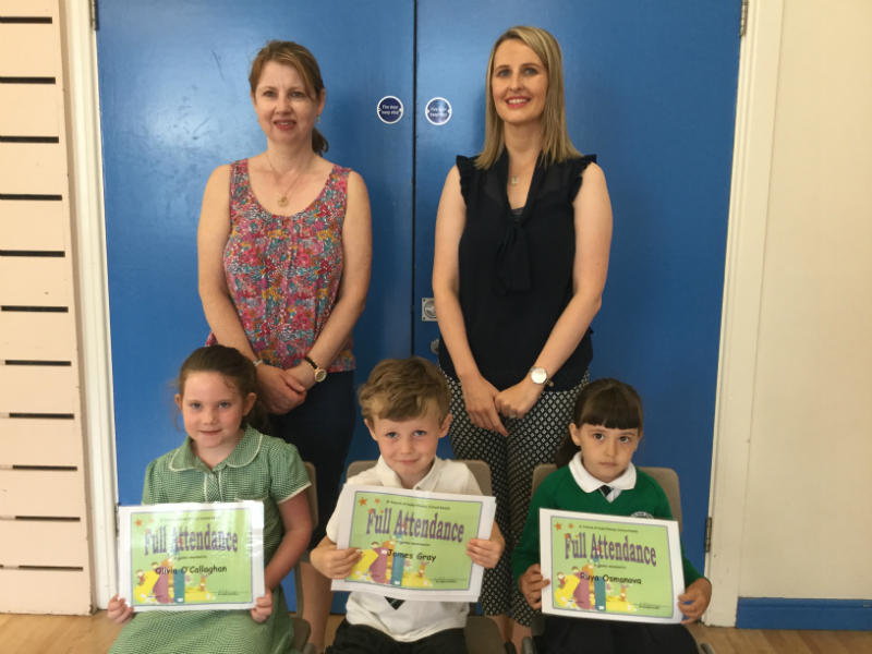 Full attendance certificates were awarded to Olivia, James and Ruya